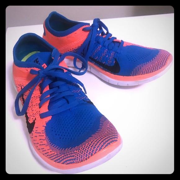 new arrival 17d44 d656c Nike Free 4.0 Flyknit 7 7.5 Blue Orange LIKE NEW